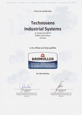 Сертификат Техносенс Сервис сервис партнера Baumuller
